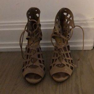 Schutz Beige Caged Sandals Size 6